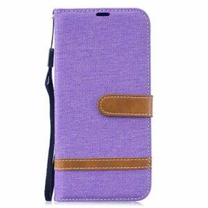 Étui pour Samsung Galaxy S30 Plus – Motif denim – Antichoc – En cuir synthétique – Fermeture magnétique – Avec fentes pour cartes – Violet clair