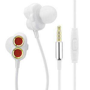 Garyesh Jack 3,5mm Écouteurs Intra-Auriculaires Écouteurs Intra-Auriculaires Double Pilotes dynamiques Écouteurs avec Haute résolution des Basses Lourdes et Micro