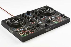 Hercules – DJControl Inpulse 200 – Contrôleur DJ USB idéal pour apprendre à mixer – 2 pistes avec 8 pads et carte son – Logiciel et tutoriels inclus