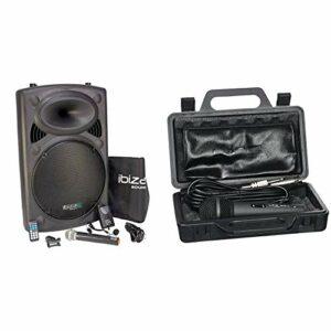 Ibiza PORT15VHF-BT Sonorisation portable USB/Bluetooth Noir & DM525 Micro dynamique Noir