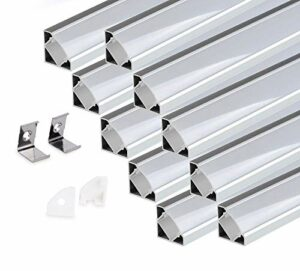 KingLed – 10 Pack Profilés Angulaires en Aluminium Anodisé LED de 1M chacun; Modèle 007 pour Bandes à LED avec Couverture Opaque en Plexiglas. Capuchons et Clips de fixation. Code1242