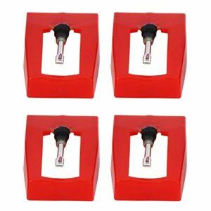 Ladieshow 4 pièces phonographe stylet tourne-disque électrique tourne-disque aiguille accessoire de remplacement pour platine vinyle, LP, phonographe