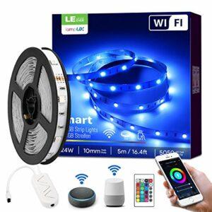 LE Ruban LED Connecté WIFI 5M 24W RGB 5050 16 Millions de Couleurs, Bande LED Adjustable Découpable avec Minuterie et Télécommande, Compatible avec Alexa, Google Home, Smartphone APP
