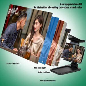 Loupe D'écran Téléphone 12″, HD 2-en-1 Grand écran Anti-lumière Bleue Amplificateur Téléphone Portable Support à Angle Réglable Amovible Support Anti-rayonnement (Color:Télécommande Bluetooth)