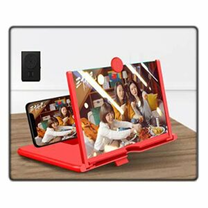 """Loupe D'écran Téléphone Portable Portable, Grand écran HD Anti-lumière Bleue Rétractable Support Support D'écran Projecteur Anti-rayonnement Movie Video Expander(Color:rouge,Size:10"""" + remote control)"""