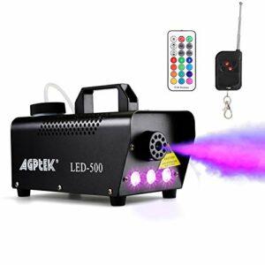 Machine à brouillard, machine à fumée automatique AGPtEK avec effet de lumière LED colorée, télécommandes sans fil ou actionnement filaire avec indicateur lumineux préchauffage, idéal pour Halloween