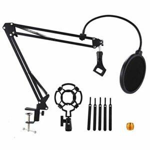 MAIOPA Stockage Pratique Suspension Stand Desktop Microphone Boom Ciseaux Bras Support avec 3/8-5/8 de vis de Montage, Shock, Filtre, Clip, Attaches de câble (Color : Black)