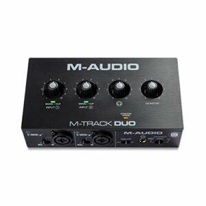 M-Audio M-Track Duo – Interface audio USB pour enregistrement, streaming, podcast avec entrées XLR, ligne et DI, ainsi qu'un pack de logiciels