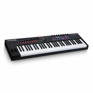 M-Audio Oxygen Pro 61 – Clavier maître USB-MIDI 61 touches avec pads, potentiomètres, boutons et faders assignables MIDI et pack de logiciels inclus