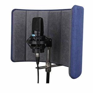 Mic Isolation Shield Microphone insonorisant insonorisant Isolation Felt Bouclier Vocal Panneau d'enregistrement for Les Professionnels Recording Studio (Couleur : Bleu, Taille : 42×19.5×30.5cm)