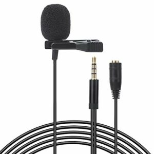 Microphone à pince Lavalier APS à prise 3,5 mm durable 1,5 m avec mode de ramassage omnidirectionnel, pour les interviews