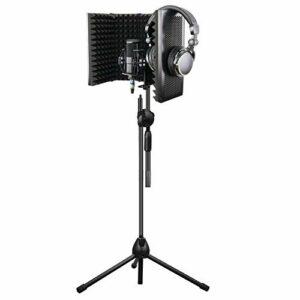 MOMIN Bouclier d'isolation de Microphone Isolation Microphone Bouclier Pliable Support réglable en Mousse Haute densité Panneau d'enregistrement avec Support for podcasts de radiodiffusion