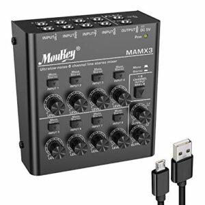 Moukey Mélangeur de Ligne 8 Canaux Ultra-Faible Bruit pour Le Mixage, Mini Mélangeur Audio DC 5V 8-Stéréo, Idéal pour Les Petits Clubs ou Bars-MAMX2