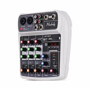 Muslady Table de mixage AI-4 Compact Carte son Digital Audio Mixer 4 canaux BT MP3 Entrée USB + Alimentation fantôme 48 V pour enregistrement de musique en réseau DJ Transmission en direct Karaoké