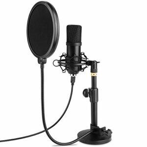 MVPower Microphone USB, Microphone à Condensateur, avec Base ronde et Filtre Anti-Pop, ensembles de microphones radio cardioïdes professionnels, pour Studio, Vidéo, YouTube, Conversation, Podcast, Jeu