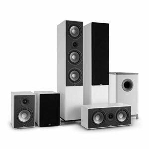 NUMAN Reference 851 Système HiFi Audiophile Ensemble d'enceintes 5.1 (2 Enceintes Colonne, 2 Enceintes bibliothèque, subwoofer de 16,5cm de 6.5″) – Blanc & Noir