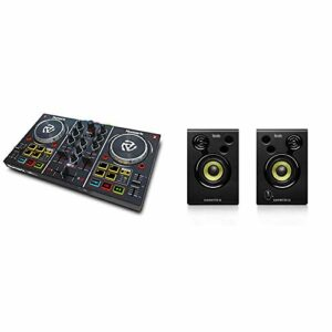 Numark Party Mix – Contrôleur DJ 2 Voies Plug-and-Play/Serato DJ Lite/Table de Mixage, Interface Audio Intégrée & Hercules – DJMonitor 32 – Enceintes actives monitoring 2×15 watts