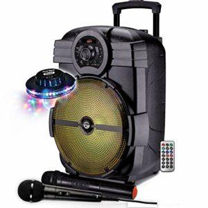 PACK DJ ENCEINTE SONO 600W KARAOKE PORTABLE + PIED + MICRO SANS FIL + BLUETOOTH USB SD + Jeu de lumière UFO OVNI