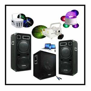 PACK SONO 2800W TOTAL avec 2 Enceintes + 1 Caisson Amplifié + 1 Pack Lumière avec Machine à Fumée – PA SONO DJ CLUB BAR DISCO FIESTA