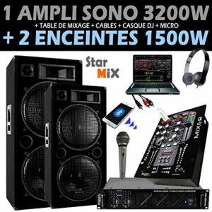 PACK SONO DJ avec AMPLI 3200W + 2 ENCEINTES 1500W + MIXAGE + CASQUE + MICRO + CÂBLES.LA TOTALE à prix fou – PA DJ SONO MIX