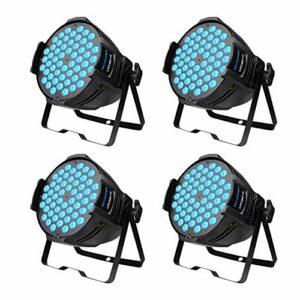 Projecteurs BETOPPER LED Par, 54 x 3W LED Projecteurs RGB 3-en-1 Par, éclairage DJ professionnel à rendement lumineux élevé, éclairage de scène compatible avec le contrôleur DMX 4 pièces