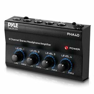 Pyle PHA40 Amplificateur Casque Stéréo Professionnel Mini-Écouteurs Splitter Amplificateur 4 Canaux Noir