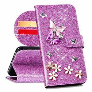 QPOLLY Compatible avec Coque Huawei Y6 2019 Bling Glitter 3D Diamant Portefeuille Housse à Rabat en Cuir Brillante Sparkle Étui de Protection avec Fentes de Cartes et Fonction Stand,Violet