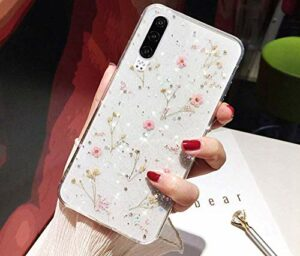 QPOLLY Compatible avec Huawei P30 Lite – Coque de protection en silicone avec fleurs séchées – Brillant – Cristal transparent – Souple – Anti-chocs – Pour Huawei P30 Lite – Rose