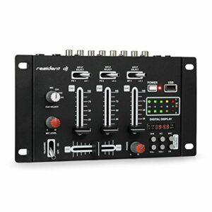 Resident DJ DJ-21 BT – DJ-Mixer, Table de mixage DJ, Console de mixage DJ 3/2 canaux, USB, MP3, 2 entrées RCA phono/ligne, Section microphone, entrées XLR/jack, Montage en rack, noir