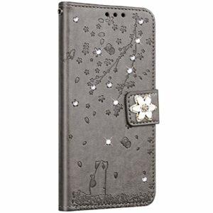 Saceebe Compatible avec Huawei Honor 10 Coque Pochette Portefeuille Housse Cuir Glitter Diamant Fleur de cerisier Chat Coque Flip Case Support Stand Housse Magnétique Étui à Rabat,Gris