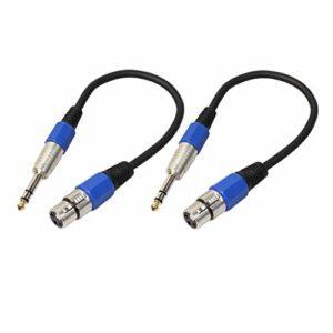 SM SunniMix 2 Pièces 6,35 Mm (1/4 Pouce) Câble de Microphone TRS Stéréo Vers XLR Femelle 1 Pied TSR-M Vers 3 Broches XLR-M Câble de Microphone pour Caméra DV, Cam