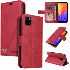 Snow Color Coque Huawei Y5p / Honor 8S Portefeuille, en Cuir Flip Case pour Bumper Protecteur Magnétique Fente Carte Housse Cover Coque pour Huawei Y5p – COYKB060426 Rouge