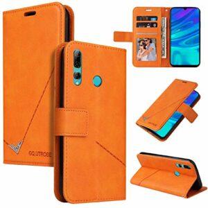 Snow Color Coque Huawei Y6p Portefeuille, en Cuir Flip Case pour Bumper Protecteur Magnétique Fente Carte Housse Cover Coque pour Huawei Y6p – COYKB060441 Orange