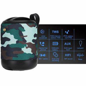 Topiky Haut-parleurs Bluetooth, Mini Haut-Parleur étanche, Haut-parleurs Stéréo HiFi Audio sans Fil avec Fonction FM, Carte Memory Stick/TF, pour Le Camping, Le Sport, la fête(Vert Militaire)