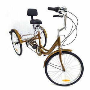 Tricycle 24 pouces 6 vitesses pour adultes – Rickshaw tricycle adulte 3 roues avec dossier + panier pour les courses en plein air pique-nique