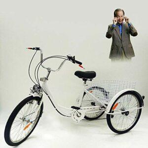Tricycle 24″ pour adultes – Tricycle pour adultes avec lampe, 3 roues, tricycle à 6 vitesses Trike Cruise avec panier en plein air pique-nique
