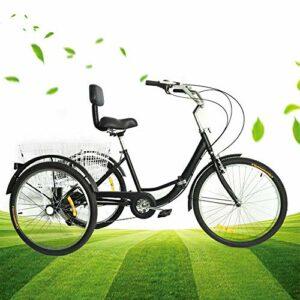 Tricycle à 3 roues pour adulte – 24″ – 7 vitesses – Pliable – Avec panier à provisions et dossier
