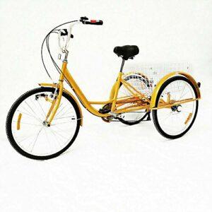Tricycle pour adulte – 24 pouces 3 roues – Tricycle avec panier – Jaune