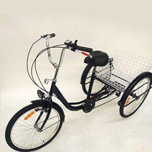 Tricycle pour adultes – 24″ Seniors Tricycle 6 vitesses Shopping Cargo Trike Cruiser avec panier + lampe pour les courses en plein air pique-nique