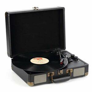 WN-PZF Platine Vinyle, Tourne-Disque rétro à Trois Vitesses, Haut-parleurs stéréo intégrés, Prise en Charge USB, Bluetooth, Prise Casque, Conception de Valise,Noir