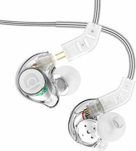 Adorer IM8 Écouteurs intra-auriculaires universels avec microphone, réduction du bruit et câble remplaçable (transparent)