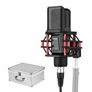 ammoon Microphone Condensateur Professionnel avec Filtre Anti-Pop Montage Antichoc 3-Pin XLR Câble pour Diffusion d'Enregistrement Vidéo en Streaming