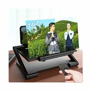 Amplificateur D'écran Téléphone Portable Pliant, Avec Télécommande Bluetooth Écran Projecteur 3D HD Films Extensions Jeu Vidéo Support Téléphone Prend En Charge Tous Les Smar(Color:noir,Size:12 inch)