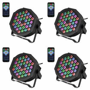 Anbull 36 LED RGB Éclairage de Scène Disco 4PCS 7 Couleurs avec Commande Vocale Projecteur DMX 512RGB avec Télécommande pour Danse/Fête/Noël/Bar/Club/LED DJ Lumière
