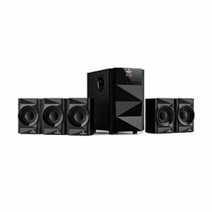 auna Z-Plus Système de haut-parleurs 5.1 70 W RMS, caisson de basses OneSide équilibré, Bluetooth, port USB, lecteur SD, tuner FM avec télécommande Noir