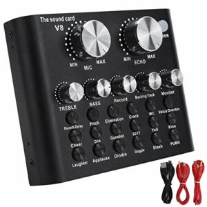 banapoy Carte Son numérique, Accessoires Audio 112 Carte Son électroacoustique, Noir 18 Effets sonores pour Diffusion en Direct