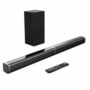 Bomaker Barre de Son avec Caisson de Basses, Barre de Son TV 2.1, 110 DB / 100 W, 5 Modes d'égalisation, 31 Pouces, Fonctionne avec 4K et HD et Smart TV, Bluetooth 5.0, Optique/Aux/TF/USB