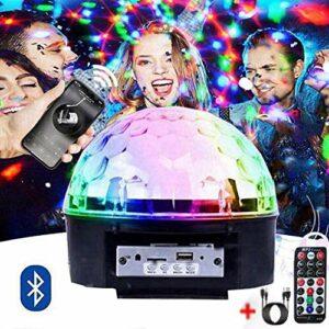 Boule Disco Lumières de scène, LED Boule à Facette avec Motif étoile, Lumière Disco 9 Couleurs, Projecteur avec Télécommande et Câble USB pour Fête, Noël, DJ Disco, Bars, Clubs, Karaoké, Scène,