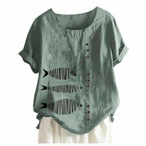 Briskorry T-shirt en lin pour femme Été Automne Grande Taille Impression Tshirt à manches courtes Col rond Tunique Tops Blouse XXL Vert 1