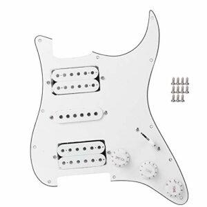 Carte de guitare électrique Pickguard Humbucker avec micro HSH chargé précâblé pour pièces de rechange de guitare électrique(blanc)